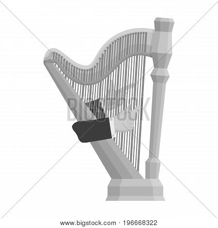 Playing the harp stringed musical instrument. Orchestral harp single icon in monochrome style vector symbol stock illustration .