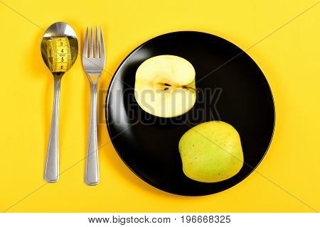 Traditional Dinner Kitchenware With Half And Whole Apple On Plate