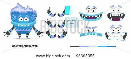 Monster character animation and creation set. Parts of body for design you scene. Cute faces and emotions. Moving arms, legs. Cartoon alien constructor. Fear, joy, smile, sadness. Funny yeti