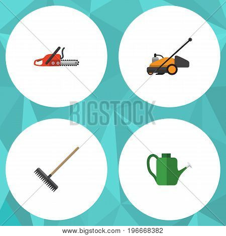 Flat Icon Farm Set Of Hacksaw, Bailer, Harrow And Other Vector Objects