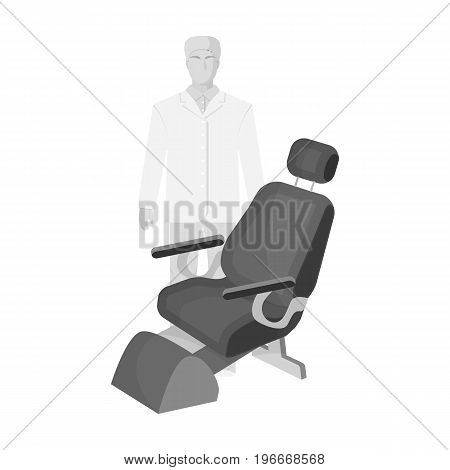 The doctor is a dentist in a white dressing gown in the office next to the chair. Medicine single icon in monochrome style vector symbol stock illustration .