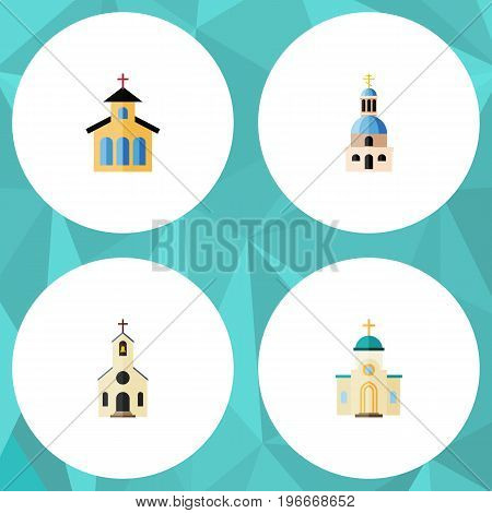 Flat Icon Christian Set Of Catholic, Building, Religious And Other Vector Objects