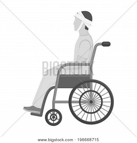 A man with a trauma in a wheelchair. Medicine single icon in monochrome style vector symbol stock illustration .