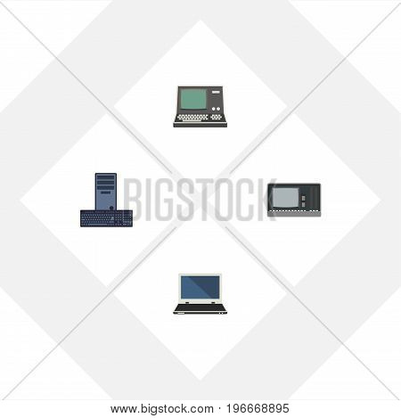 Flat Icon Laptop Set Of Processor, Vintage Hardware, Notebook And Other Vector Objects
