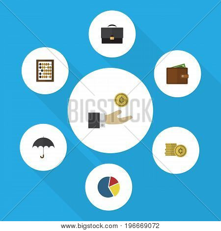 Flat Icon Incoming Set Of Hand With Coin, Counter, Parasol Vector Objects