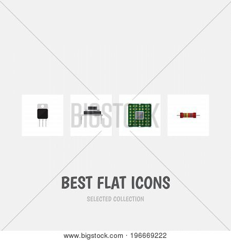 Flat Icon Electronics Set Of Destination, Resistance, Receiver And Other Vector Objects