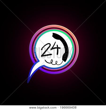 24 h support icon. Call, sign, Button, bell