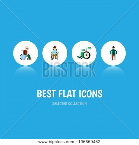 Flat Icon Handicapped Set Of Injured, Disabled Person, Wheelchair And Other Vector Objects