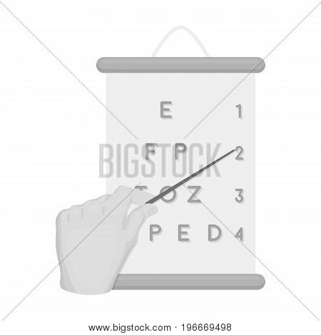 Gesture, manipulation of the hand with a pointer when checking the vision according to the table. Medicine single icon in monochrome style vector symbol stock illustration .