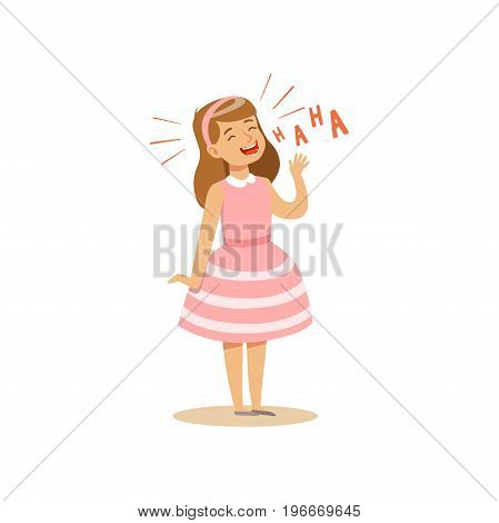 Girl in a pink dress laughing out loud colorful character vector Illustration on a white background
