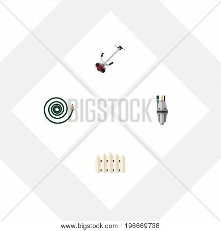 Flat Icon Dacha Set Of Pump, Wooden Barrier, Hosepipe And Other Vector Objects