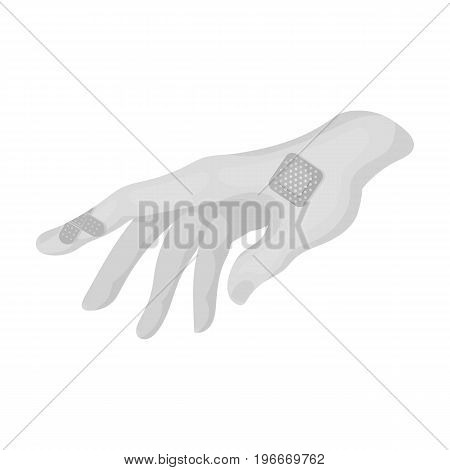 Bactericidal plaster on the arm. Medicine single icon in monochrome style vector symbol stock illustration .