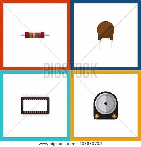 Flat Icon Appliance Set Of Hdd, Mainframe, Resistance And Other Vector Objects