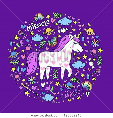 Cute handdrawn unicorn. Unicorn and magic stuff. Miracle and magic creature. Vector illustration.