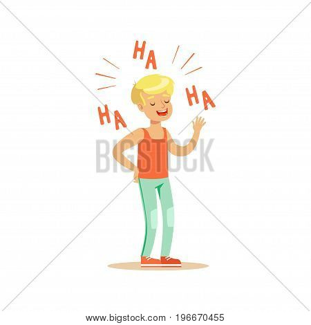 Happy blonde boy in casual clothes laughing out loud colorful character vector Illustration on a white background