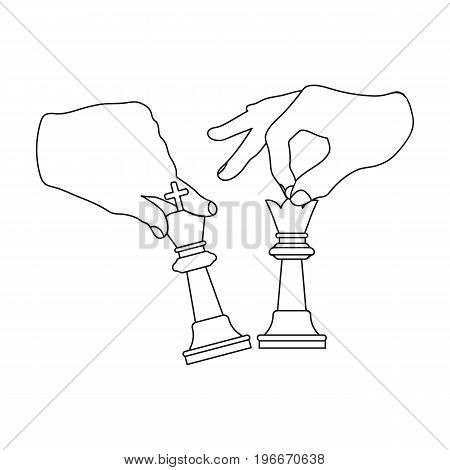 Hands holding chess pieces. Chess single icon in outline style vector symbol stock illustration .