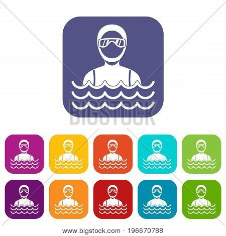 Scuba diver man in diving suit icons set vector illustration in flat style in colors red, blue, green, and other