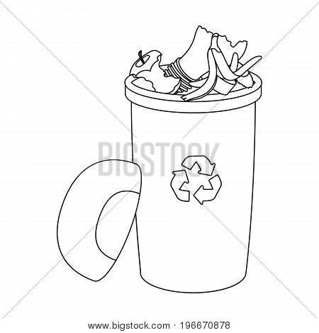 A full garbage can with waste. Rubbish and Ecology single icon in outline style vector symbol stock illustration ,