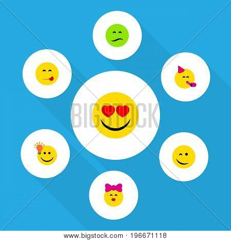 Flat Icon Gesture Set Of Love, Frown, Party Time Emoticon And Other Vector Objects