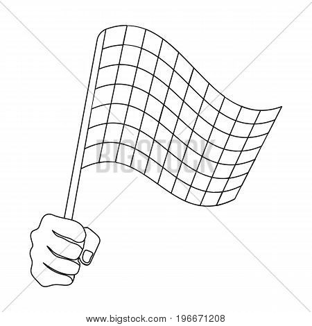 A racing, starting and finishing fluttering flag in his hand. Checkered flag single icon in outline style vector symbol stock illustration .
