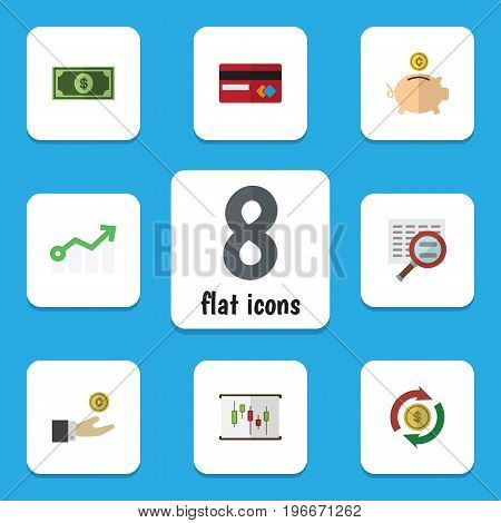 Flat Icon Gain Set Of Hand With Coin, Diagram, Scan Vector Objects