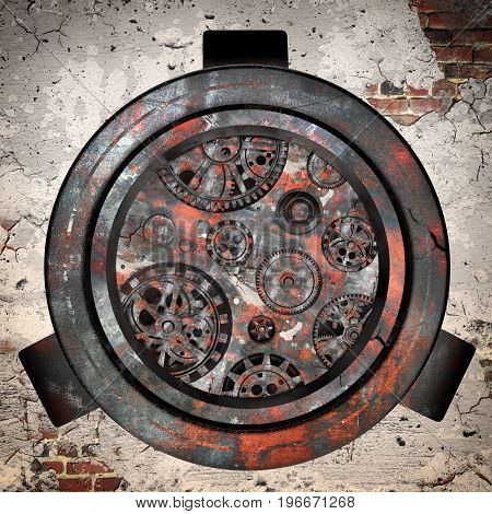 Rusty mechanism in the old clockon a brick wall . 3d illustration