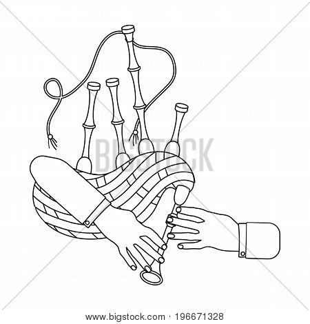Playing the Scottish national bagpipe instrument. Bagpipe Wind Instruments single icon in outline style vector symbol stock illustration .