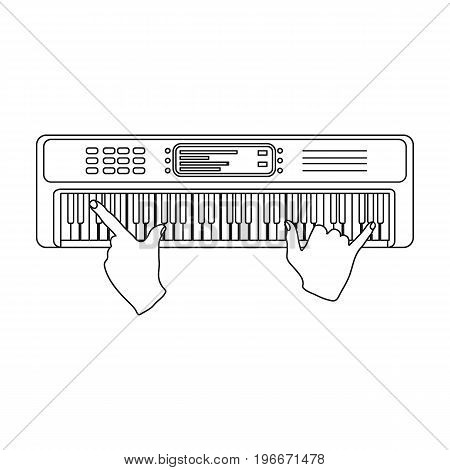 Playing on an electronic keyboard instrument. Synthesizer, Electroorgan single icon in outline style vector symbol stock illustration .