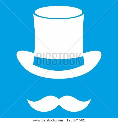 Magic black hat and mustache icon white isolated on blue background vector illustration