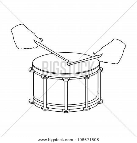 Drum, percussion musical instrument. Drum shot single icon in outline style vector symbol stock illustration .