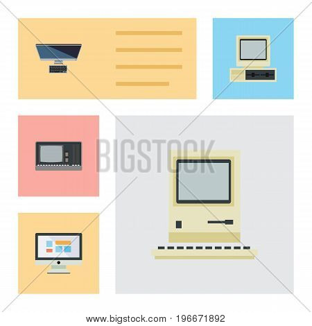 Flat Icon Computer Set Of PC, Vintage Hardware, Computing And Other Vector Objects