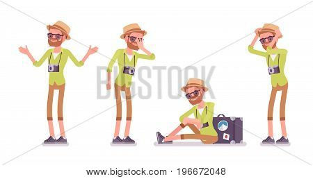 Tourist man negative emotions set. Upset with delayed flight, forgetting passport, trip problems, language barrier, bad location. Vector flat style cartoon illustration, isolated, white background