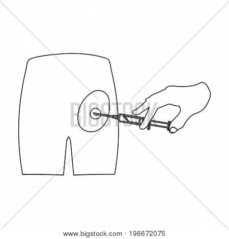 Intramuscular injection into the buttock with a syringe. Medicine single icon in outline style vector symbol stock illustration .