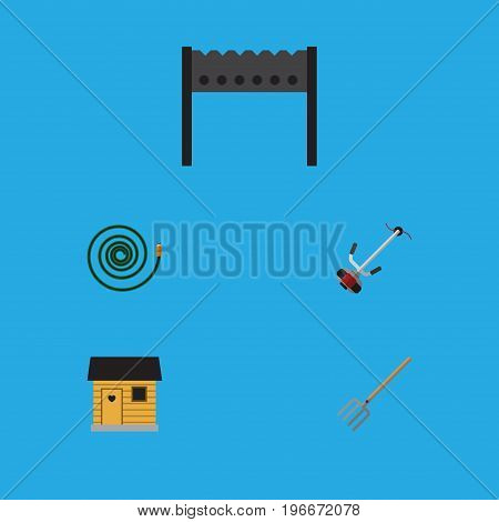 Flat Icon Garden Set Of Grass-Cutter, Stabling, Barbecue And Other Vector Objects