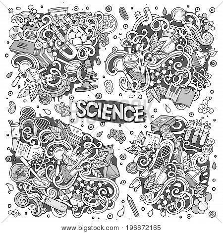 Vector hand drawn doodle cartoon set of Science theme items, objects and symbols