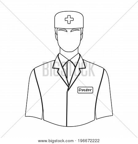 The man is a doctor in uniform. Medicine single icon in outline style vector symbol stock illustration .
