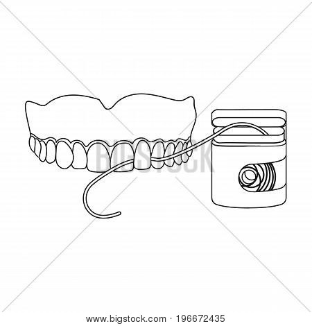 Cleaning the teeth with a Silk dental floss. Stomatology single icon in outline style vector symbol stock illustration .