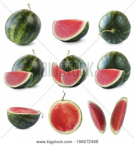 watermelon and slice isolated on white background. Sweet and juicy fruit with copy space for text. Ripe watermelon close-up. Set of watermelon and slices.