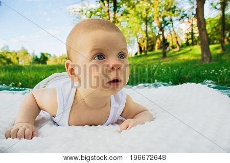 Newborn holds head Outdoors Crawling on the grass