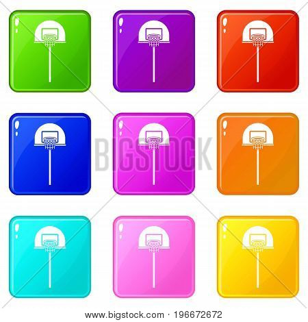 Street basketball hoop icons of 9 color set isolated vector illustration