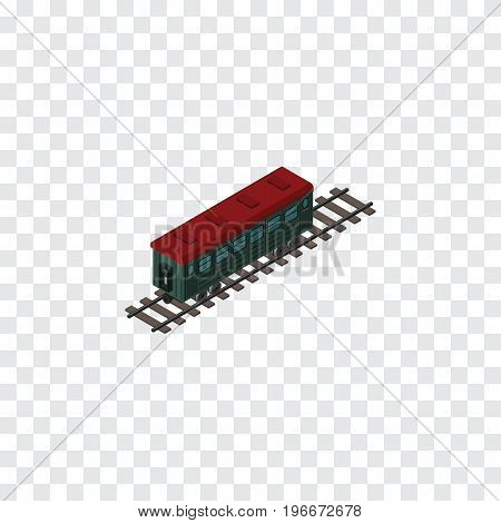 Subway Vehicle  Vector Element Can Be Used For Passenger, Carriage, Railway Design Concept.  Isolated Passenger Carriage Isometric.