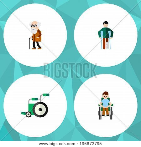 Flat Icon Cripple Set Of Disabled Person, Ancestor, Injured And Other Vector Objects