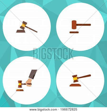 Flat Icon Lawyer Set Of Court, Hammer, Defense And Other Vector Objects