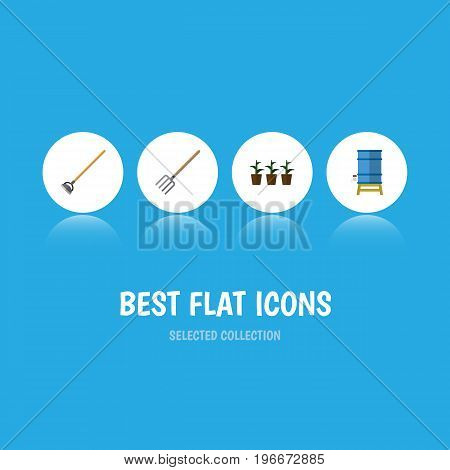 Flat Icon Dacha Set Of Flowerpot, Hay Fork, Tool And Other Vector Objects