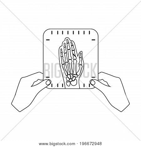 X-ray picture of the hand of a person in the hands of a radiologist. Medicine single icon in outline style vector symbol stock illustration .