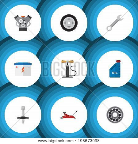 Flat Icon Auto Set Of Motor, Muffler, Brake Disk And Other Vector Objects