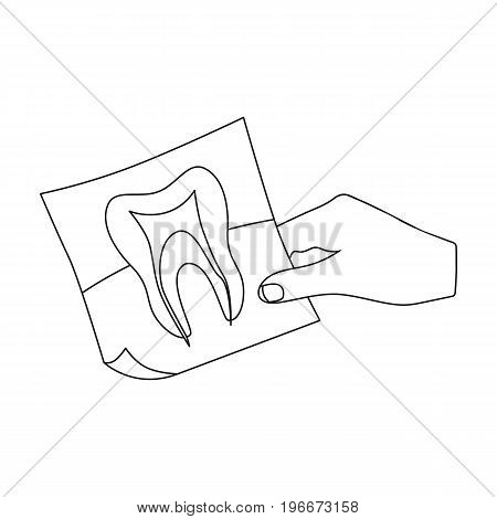 X-ray of the tooth in the hand of the dentist. Stomatology single icon in outline style vector symbol stock illustration .