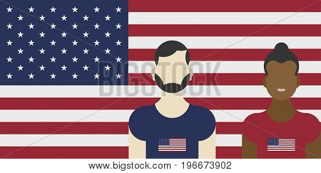United States Of America Flag With Family Patriots. Flat Vector Illustration Eps 10