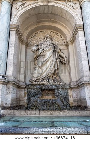 ROME, ITALY - JUNE 22, 2017: Amazing view of Fountain of Moses (Fountain Acqua Felice) in city of Rome, Italy