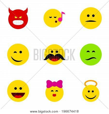 Flat Icon Expression Set Of Angel, Cheerful, Winking And Other Vector Objects